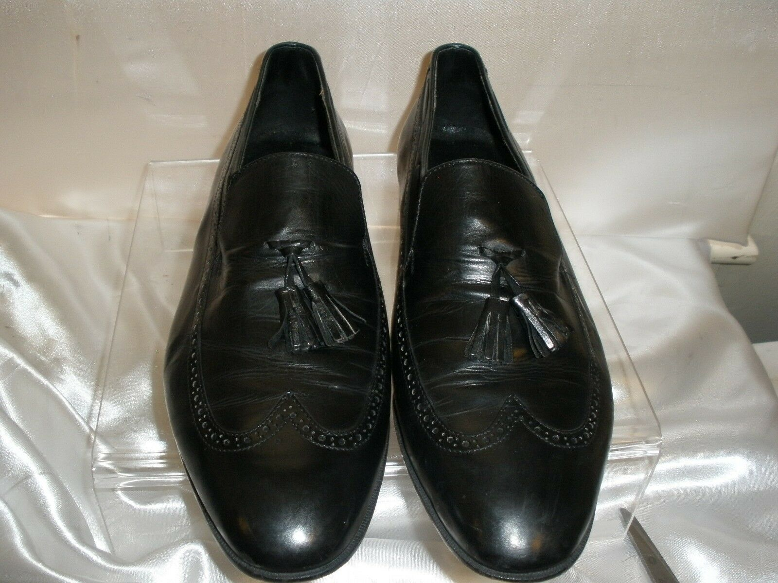 Vintage Leather PHILLIP DE JARMO Black Leather Vintage Wingtip Tassel Loafer Men's 10M EUC~ITALY 4027f0