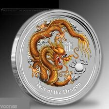Perth Mint Australia 2012 Dragon Gold Colored 1 oz .999 Silver Coin