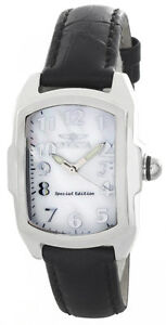 Invicta-Women-039-s-Lupah-Pearl-Dial-Black-Leather-Strap-Band-Analog-Watch-19778