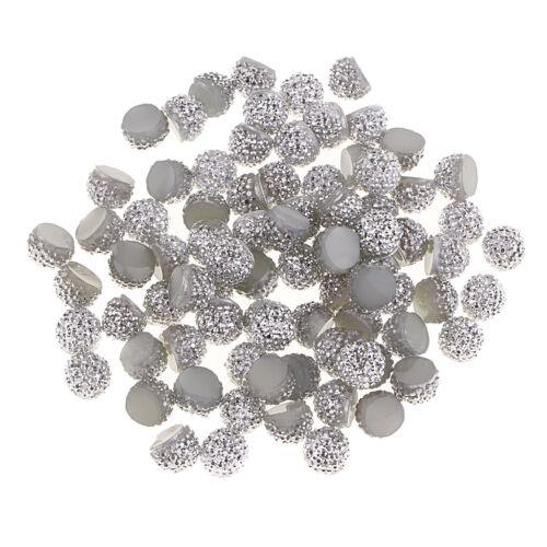 80x Flatback Strass Knöpfe Cabochons Perlen für DIY Handys Case Crafts