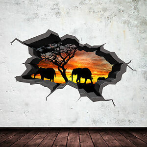 FULL-COLOUR-ELEPHANT-SAFARI-CAVE-CRACKED-3D-WALL-ART-STICKER-DECAL-MURAL-1