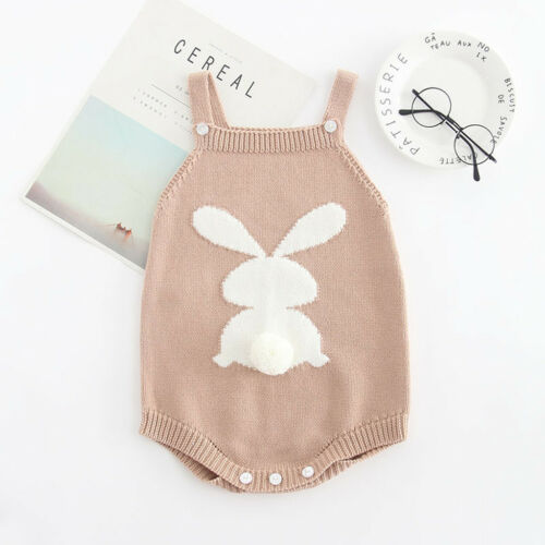 Newborn Baby Girl Sleeveless Knitted Overalls Embroidered Cotton Romper Bodysuit