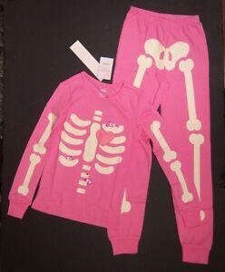 1541bf43220a NWT Gymboree Halloween Pink Skeleton Creatures Gymmies Pajamas ...
