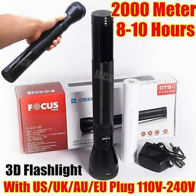 3D SIZE Focus 2000Meter CREE LED TACTICAL RECHARGEABLE POLICE FLASHLIGHT Torch
