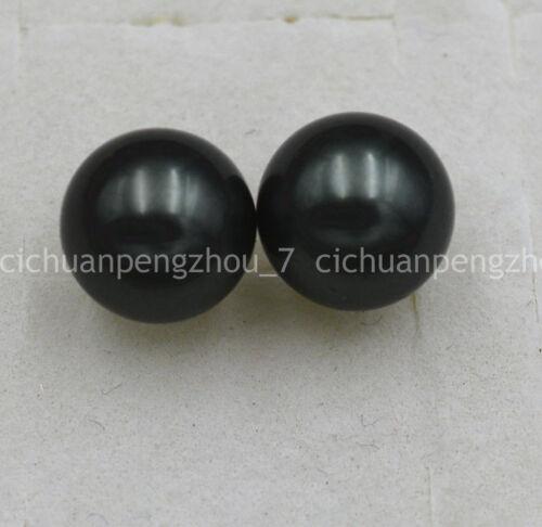 Fashion 10 mm NOIR South Sea Shell Pearl 925 Argent Boucles D/'oreilles Clou