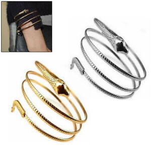Details about Gold Silver Armband Coiled Snake Bracelet Upper Arm Cuff  Spiral Armlet Bangle
