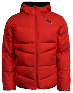 c9d96aa5e Details about Puma Mens Zip Up Hooded Red Jacket Down Filled Puffer Coat  838642 09 M16