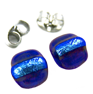 DICHROIC-Post-EARRINGS-1-4-034-7mm-Cobalt-Blue-Striped-Layered-Fused-GLASS-STUDS