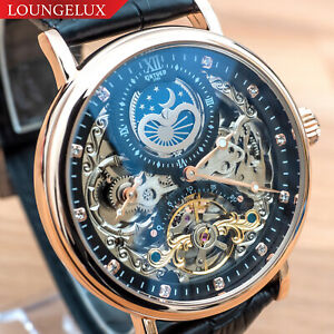 Mens-Dual-Time-Flywheel-Leather-Luxury-Bling-Skeleton-Automatic-Mechanical-Watch