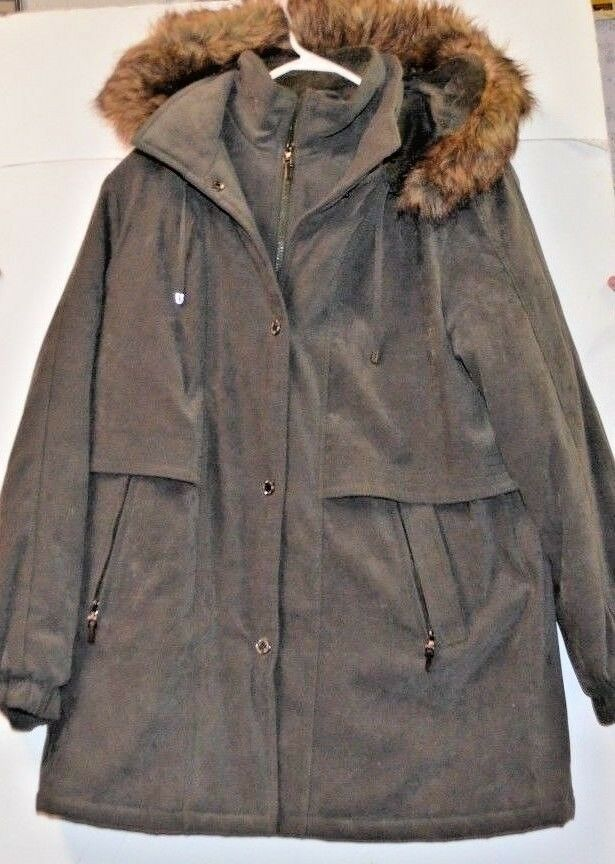 Fleet Street Women's Size M, hooded Winter Coat, Green Faux Suede