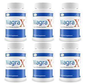6 Niagrax #1 Hombre Sexual Potenciador Rendimiento Pastilla Duros Erección