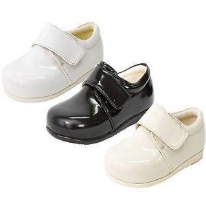 7a69c5d977a4 Image is loading Baby-Boys-Patent-Shoes-Black-Cream-White-Formal-