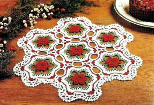 LOVELY Roses in the Snow Doily//CROCHET PATTERN INSTRUCTIONS ONLY