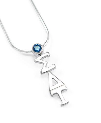 NEW Sigma Delta Tau Sterling Silver lavaliere pendant w//Blue Swarovski Crystal