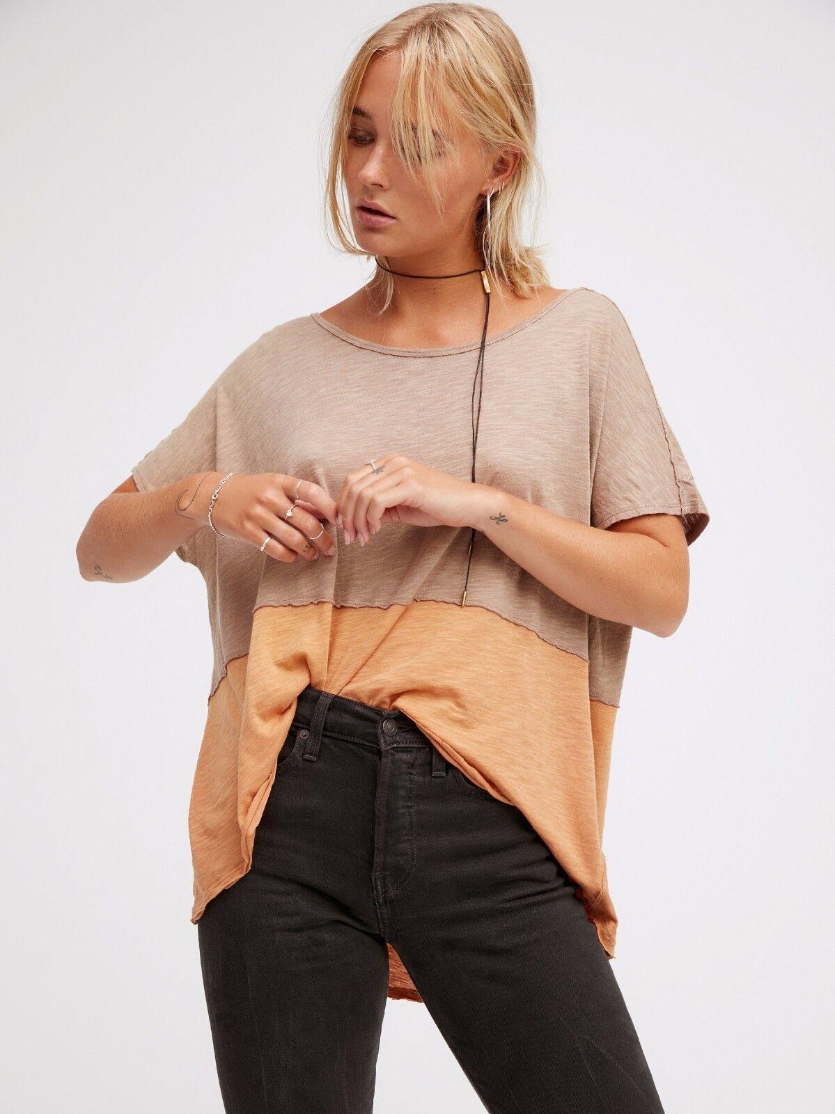 Neuf avec étiquettes Libre People szxs nous la libre Minuit T-shirt sans hommeches Pêche Combo