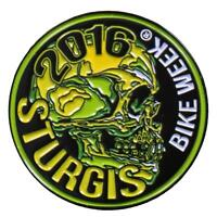 OFFICIAL STURGIS 76th ANNIVERSARY ENAMEL  2016 MOTORCYCLE RALLY PEWTER SKULL PIN