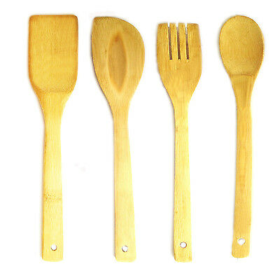 Wooden spoon bamboo utensils cooking fry turner spatula scraper kitchen tool set