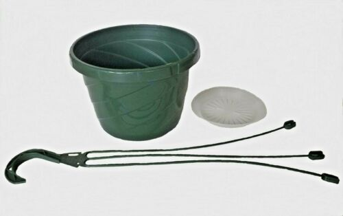 "Hangers /& Saucers 10-8/"" Hanging Baskets Green Plastic Hanging Flower Pots"