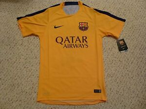 online store 40c16 6d8dc Details about NWT Nike 2015/16 Barcelona Pre Match Yellow Training Jersey  (LARGE)