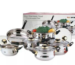 12PC-STAINLESS-STEEL-COOKWARE-SAUCEPAN-FRYPAN-CASSEROLE-SET-GLASS-LID-KITCHEN-UK