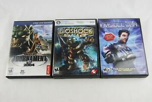 Lot of 3 PC and DVD Games Bioshock NeusEx Invisible War Unreal Tournament 2004