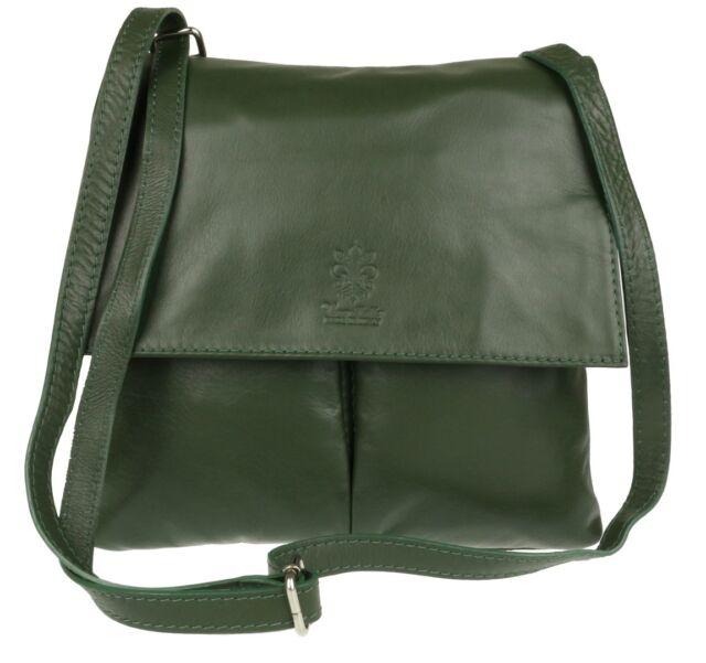 8f506084862a Girly Handbags Double Pocket Italian Leather Messenger Bag Dark ...