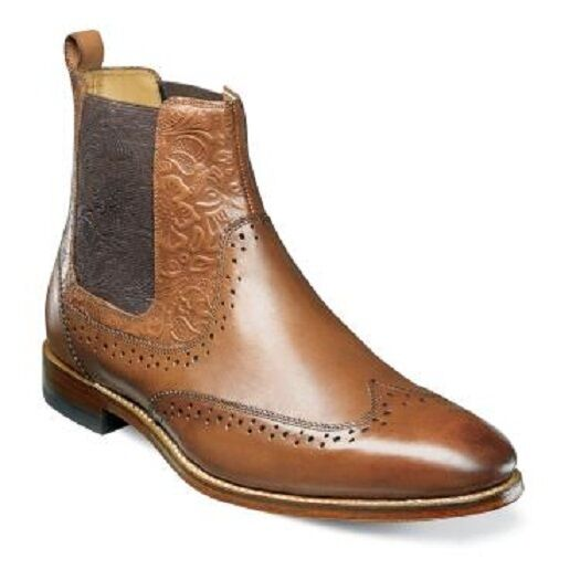 Stacy Adams Uomo Boot Madison II Wingtip Chelsea Cognac 00084-221
