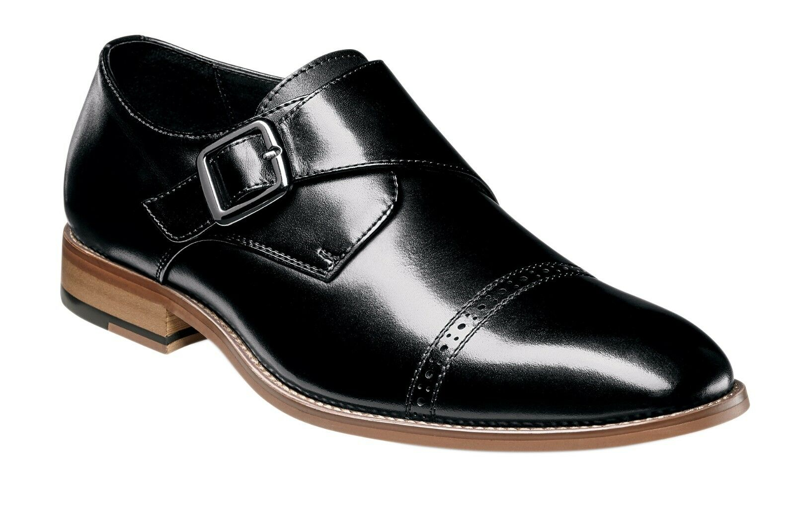 Stacy Adams Para Hombre Desmond Cap-Toe Monje-Strap Slip-on Loafer-Negro