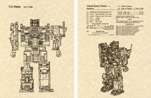Protectobot Transformers DEFENSOR US Patent Art Print READY TO FRAME!