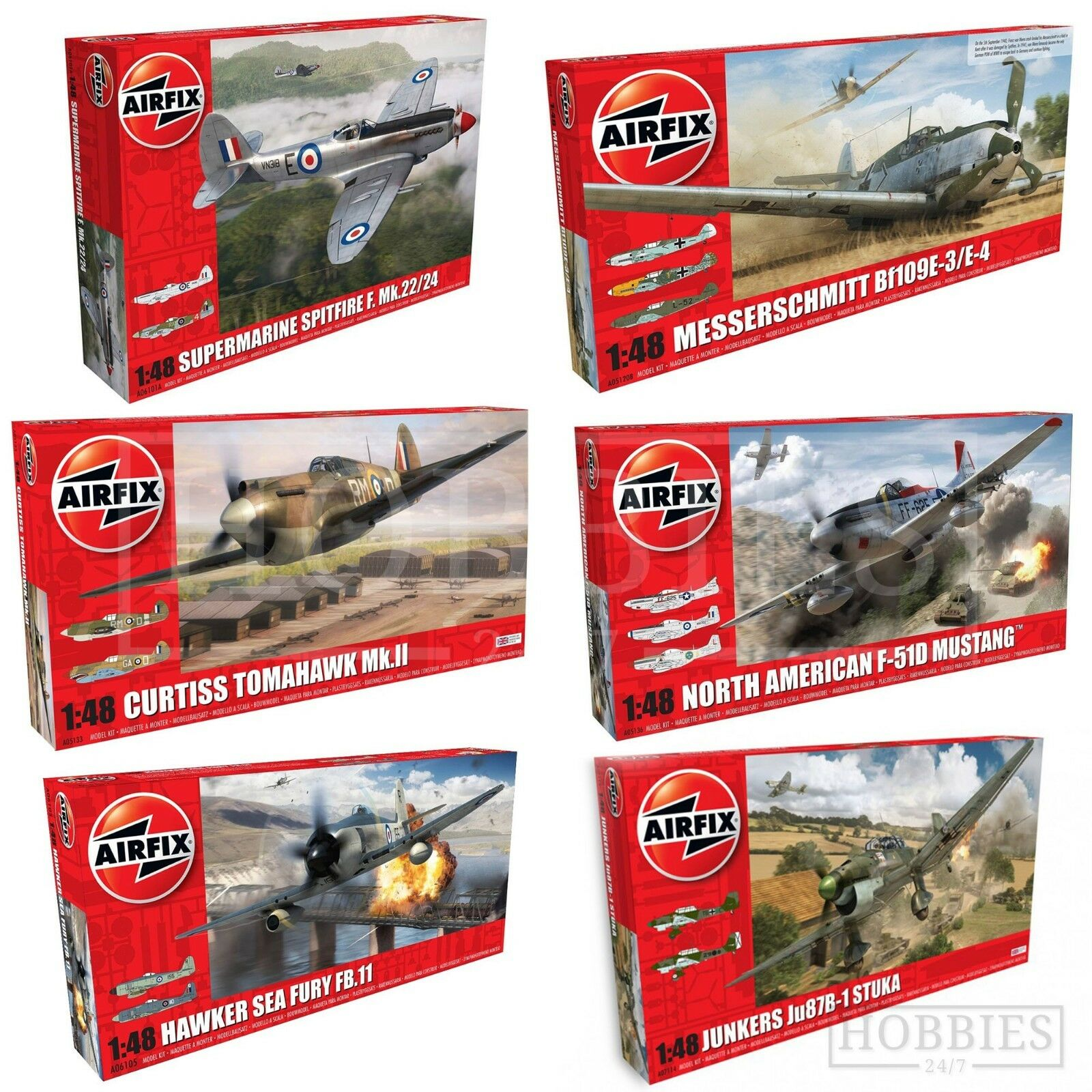 Airfix 1 48 Model Aircraft Kits WW2 Spitfire Hurricane Junkers Mustang Plane