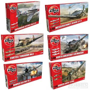 Airfix-1-48-Model-Aircraft-Kits-WW2-Spitfire-Hurricane-Junkers-Mustang-Plane