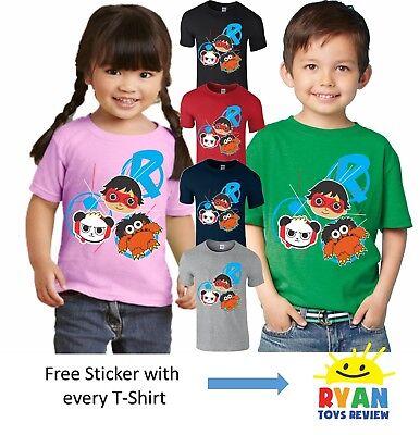 Ryans Toys Review World T Shirt Girls Boys Kids Birthday Gift Present Top-504YR