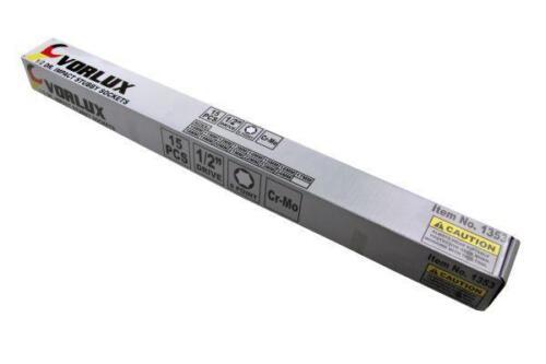 VORLUX 15PC 1//2 DR IMPACT 6PT STUBBY SOCKETS10-24mm B1353