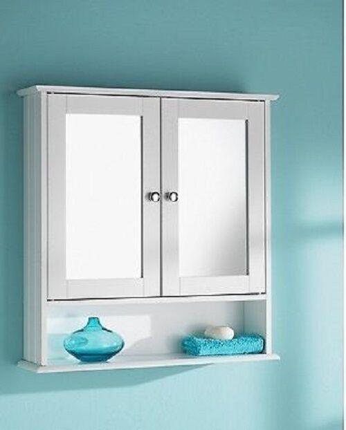 Modern Maine White Bathroom Wall Cabinet Shelf Cupboard Mirrored Cool Bathroom Cabinet Mirrored