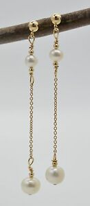 #BE-102 New 14K Solid Gold Cultured Pearl Drop/Dangle Earrings