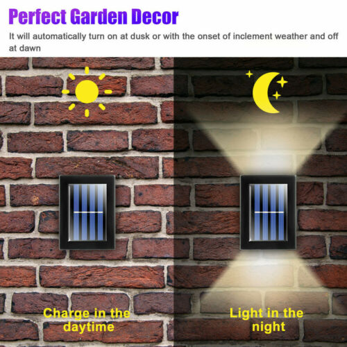 2//4pcs Outdoor Solar 2LED Deck Lights Path Garden Patio Pathway Stairs Step Lamp