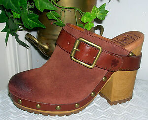 Lucky-Brand-Lucia-Brown-Suede-Leather-Clogs-clog-Mules-Womens-Shoes-Size-6-M-new