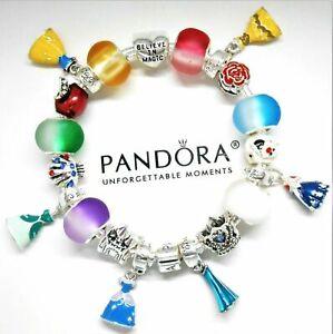 Authentic Pandora Bracelet Silver Disney Princess Dresses With European Charms Ebay