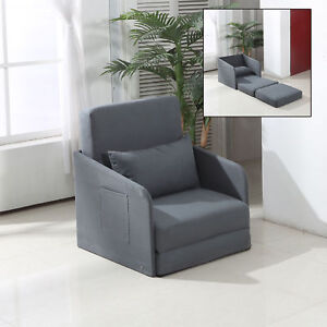Single sofa bed armchair soft seater sleeper couch pillow for Sofa bed 1 seater
