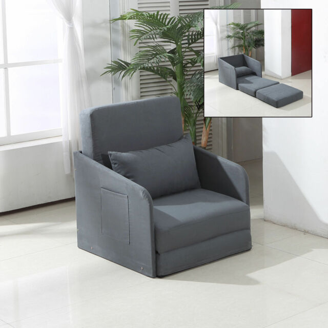 Single Sofa Bed With Pillow 2magazine Pocket Folding Armchair Study