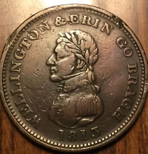 1813-DUBLIN-WELLINGTON-ONE-PENNY-COLONIAL-TOKEN-Bowman-6-Rim-nicks