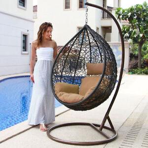Details About Tear Drop Outdoor Hanging Hammock Wicker Swing Chair Egg  Shape New BN BEIGE