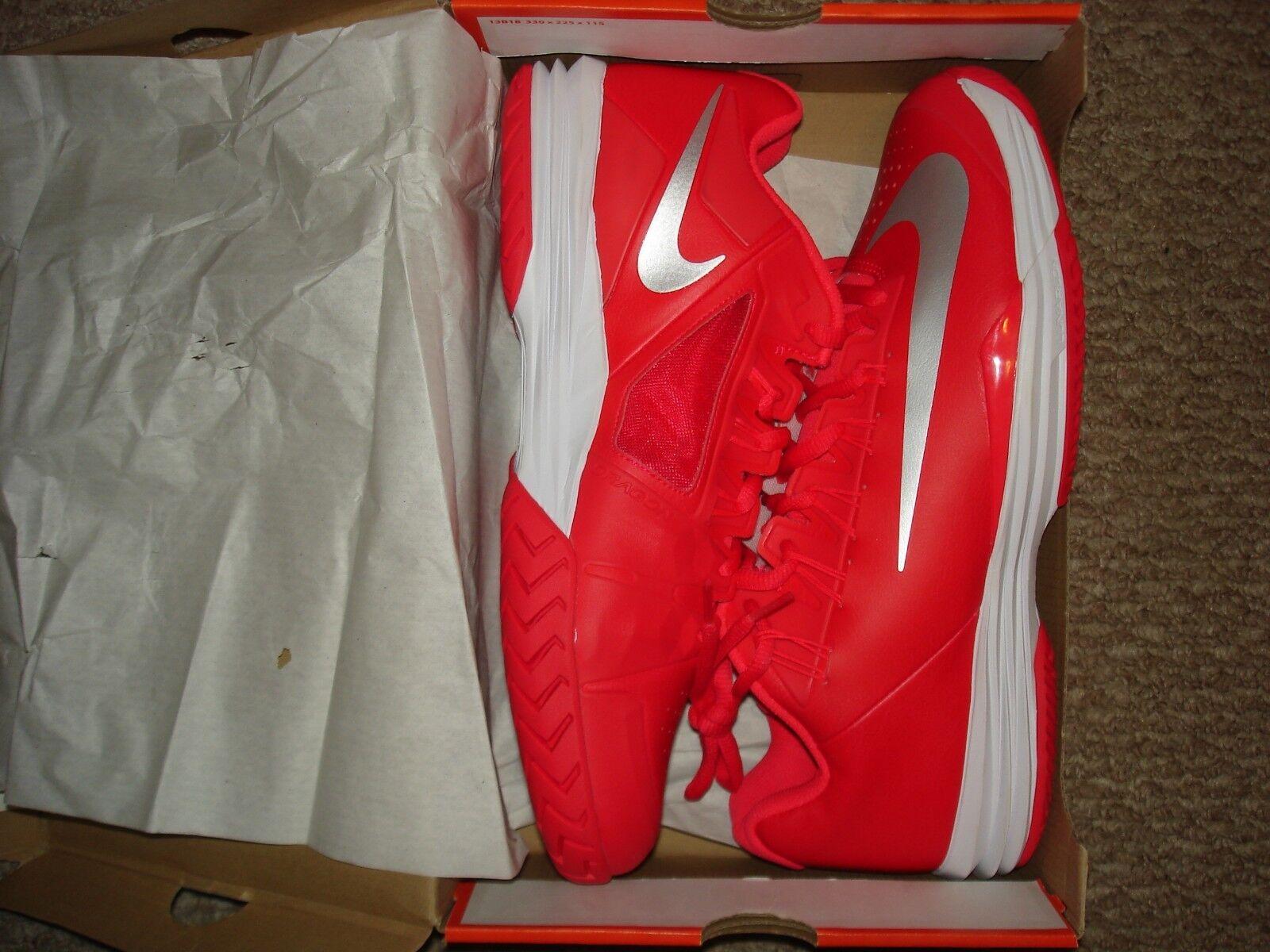 NIB Nike Nadal Lunar Ballistec 1.5 Team Red Tennis shoes 705285-602 Sz 12.5