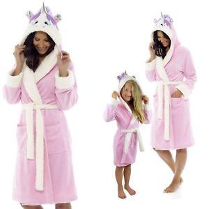 Ladies Girls Mini Me Unicorn 3D Hooded Pink Dressing Gown Robe Mum /& Daughter