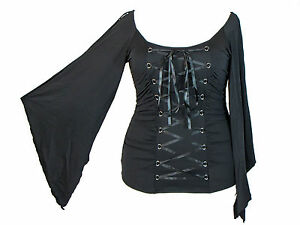 Black-Stretchy-Lace-Up-Gothic-Vampire-Corset-Jersey-Top-S-M-L-XL-1X-2X-Plus-Size