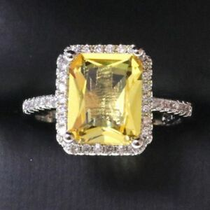 3-25-Ct-Princess-Yellow-Citrine-Ring-Women-Jewelry-Gift-14K-White-Gold-Plated