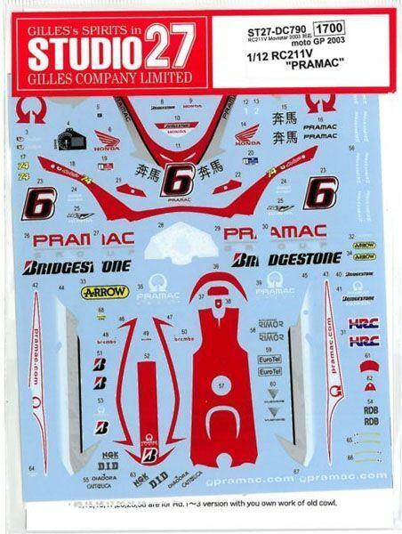 STUDIO 27 SIMONCELLI AOYAMA MOTO GP /'11 DECAL for TAMIYA 1-12 HONDA RC211V