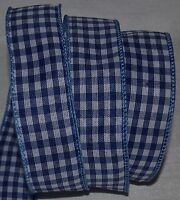 Wired Ribbon~Country Blue Check~White~Rustic Gingham~Primitive~Plaid~Wreath~Bow