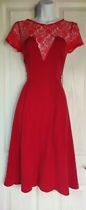 Womens-Asos-Dress-size-s-8-10-red-fit-amp-flare-sexy-lace-occasion-wedding-prom-vgc