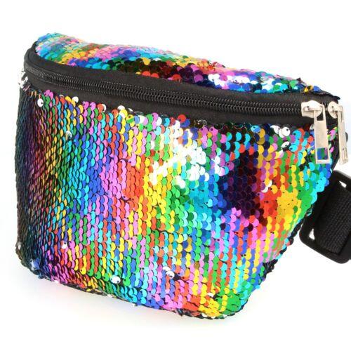 BUM BAG FANNY PACK Festival Sequin Boho Rainbow Metallic Shiny Belt Pouch Travel